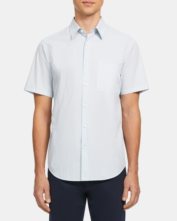 띠어리 맨 반팔 셔츠 Theory Irving Short-Sleeve Shirt in Grid Cotton,POSEIDON MULTI