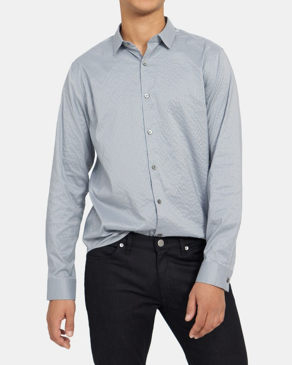 Tech Slim Shirt in Gingham Cotton