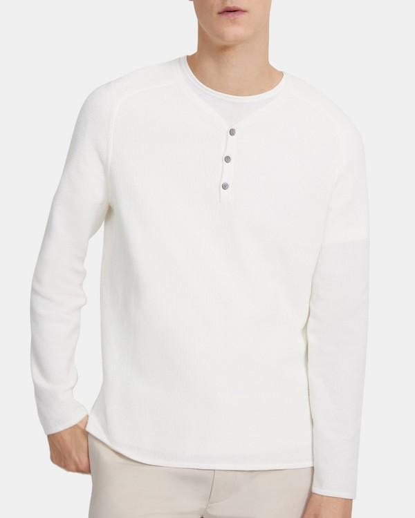 띠어리 맨 헨리 셔츠, 슬릭 코튼 Theory Henley Shirt in Sleek Cotton,WHITE