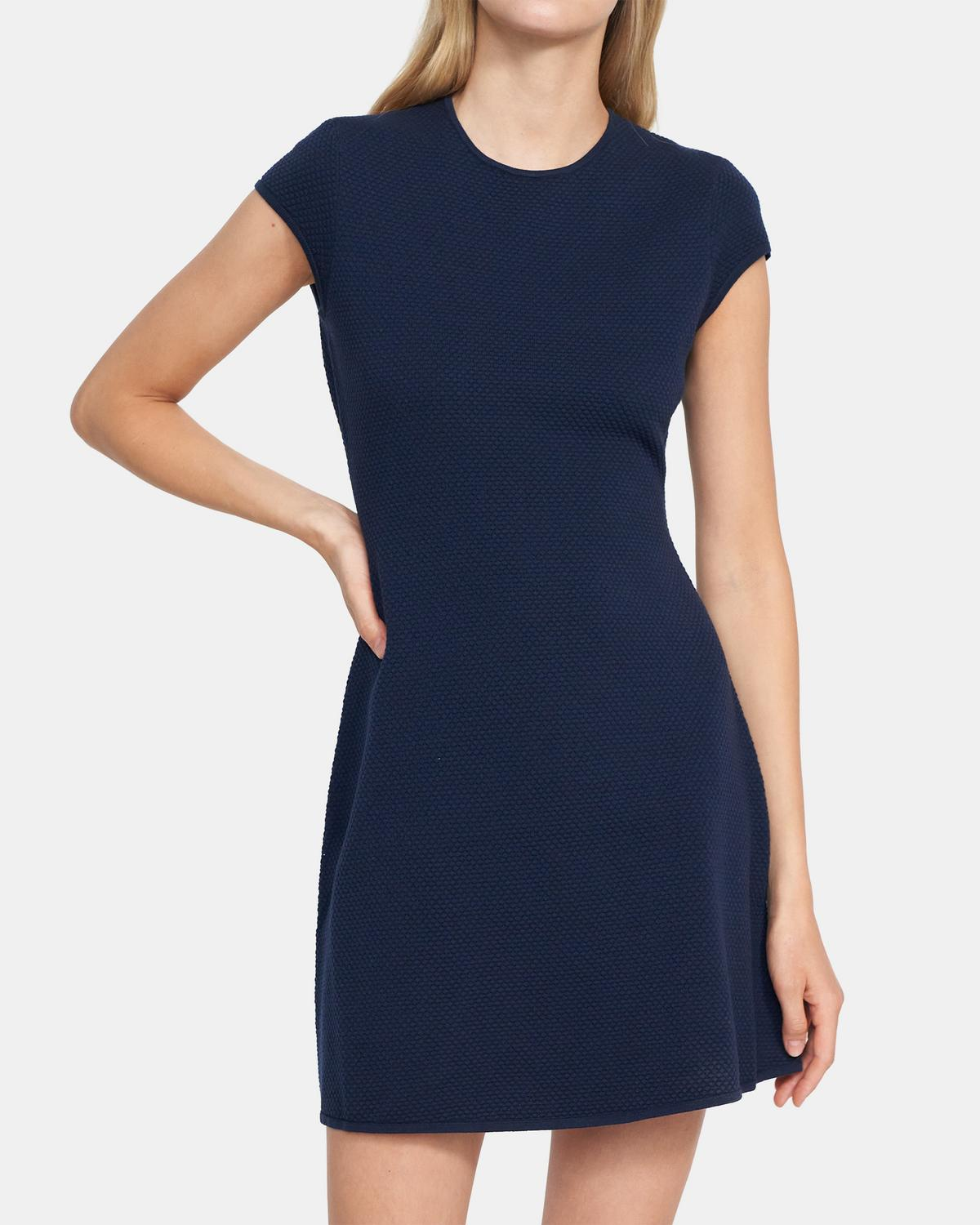Cap-Sleeve Flare Dress in Stretch Knit 0 - click to view larger image