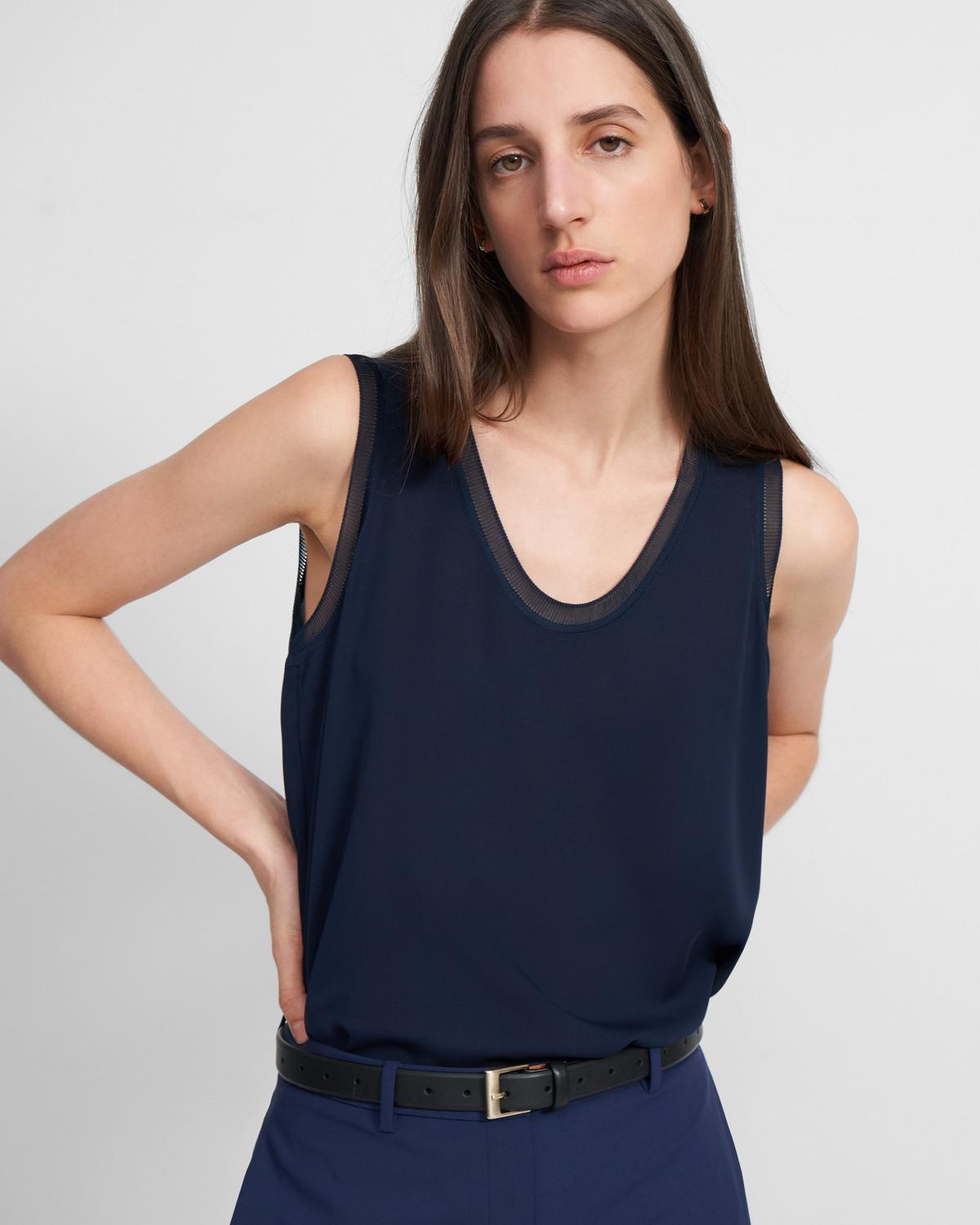Ribbed Trim Scoop Tank Top in Silk
