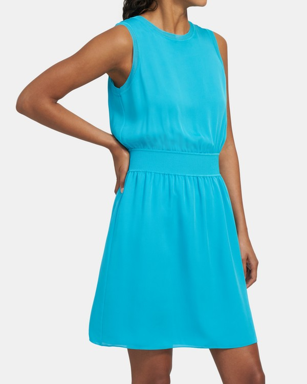 Ribbed Trim Dress in Silk Combo