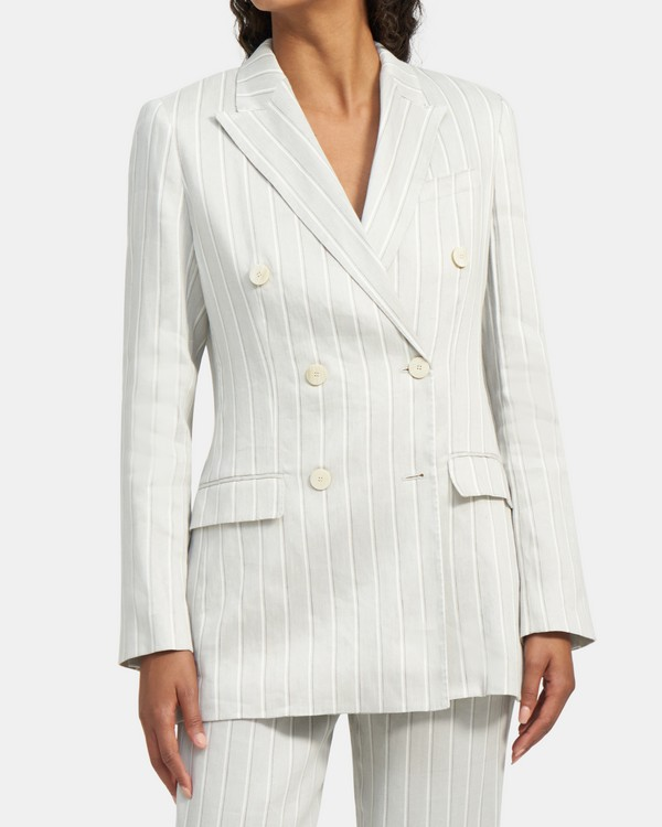 Double-Breasted Blazer in Striped Stretch Linen