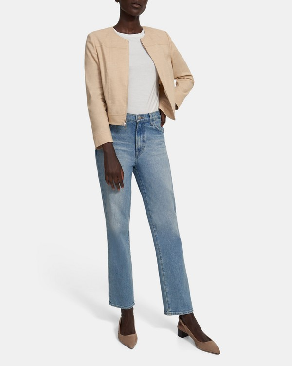 Jean Moto Jacket in Textured Good Linen