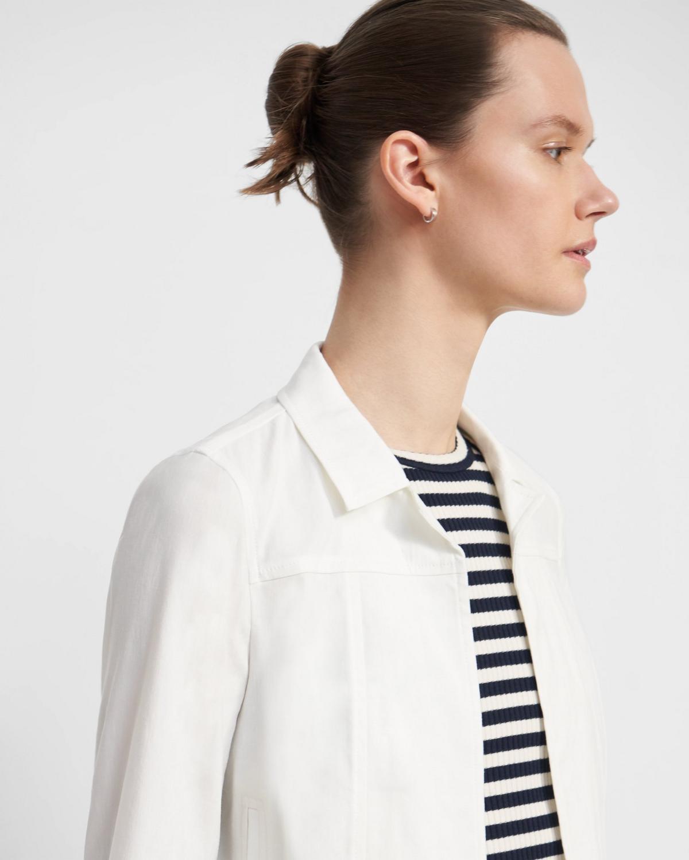 Shrunken Jean Jacket in Linen Blend 0 - click to view larger image