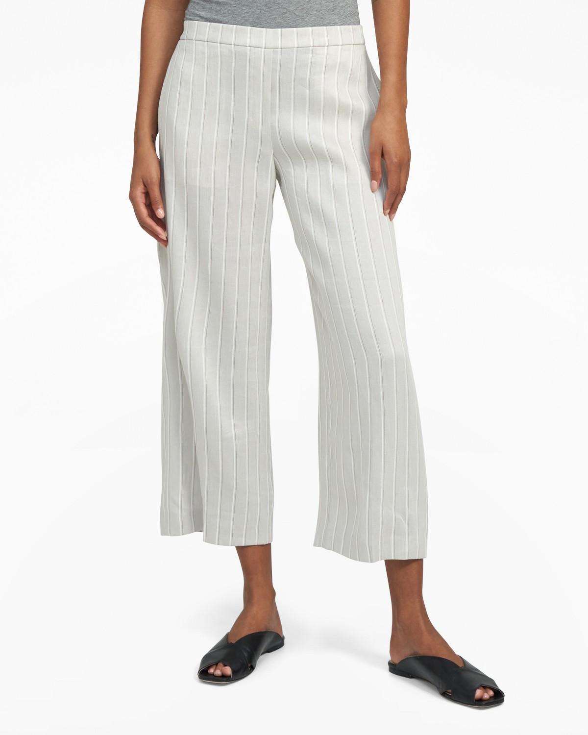 Cropped Pull-On Pant in Striped Stretch Linen