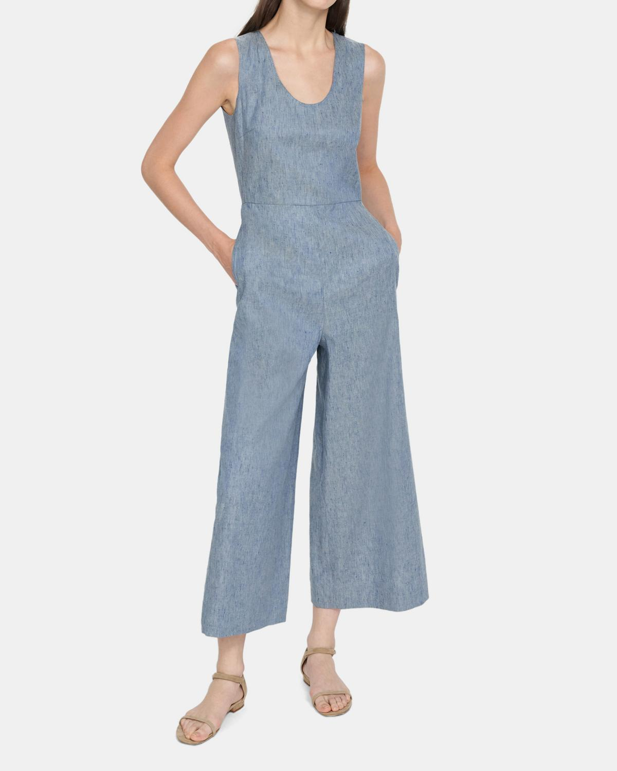 Seamed Jumpsuit in Linen Denim 0 - click to view larger image