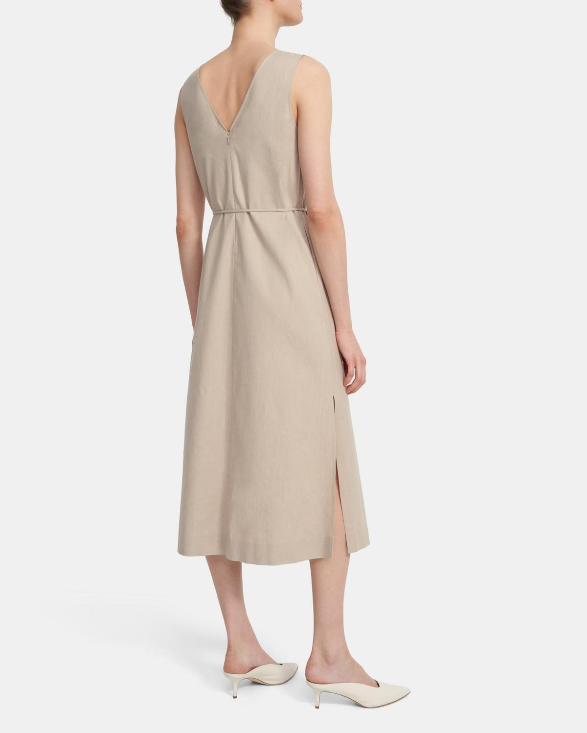 Deep V Midi Dress in Linen Blend