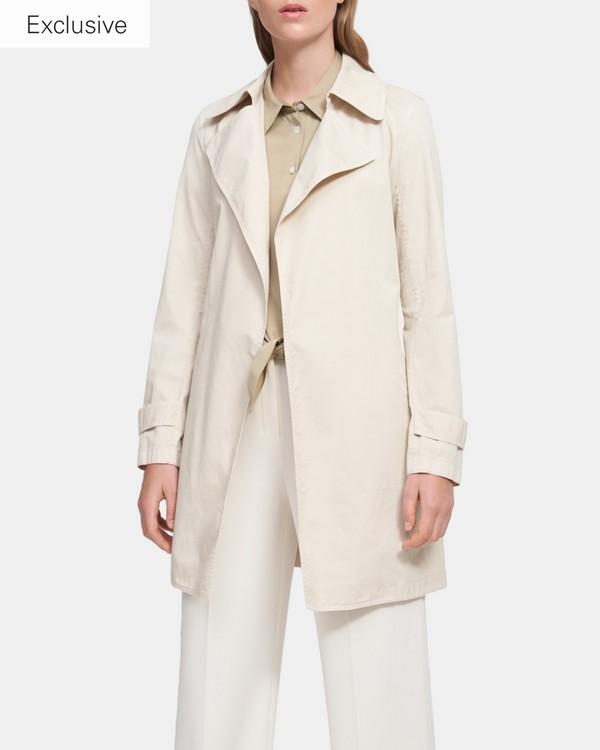 띠어리 오크레인 숏 트렌치 코트 - 네추럴 Theory Oaklane Short Trench Coat in Garment Dyed Chino, K0304401