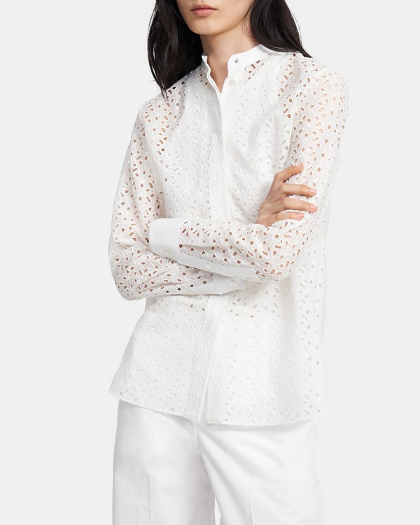 Combo Shirt in Daisy Eyelet Cotton-Silk