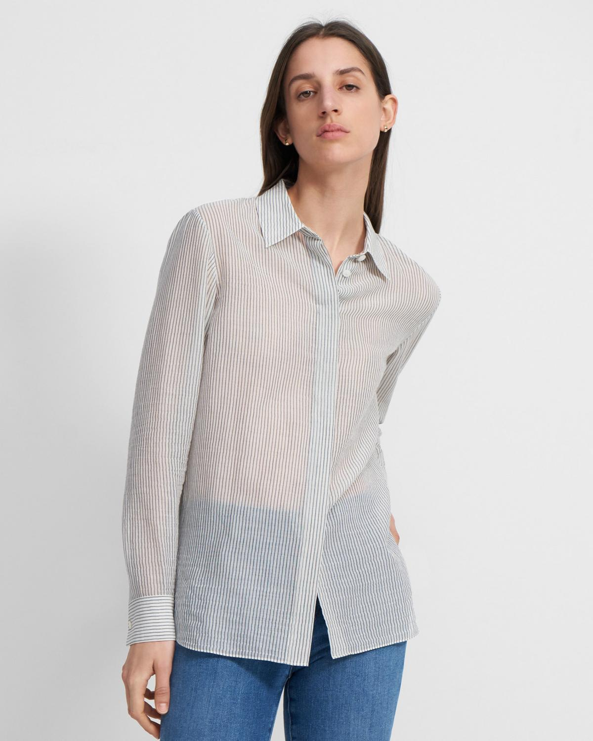 Straight Shirt in Striped Organic Cotton