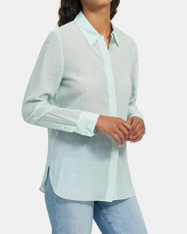 띠어리 스트라이프 셔츠, 오가닉 코튼 Theory Straight Shirt in Striped Organic Cotton,TEAL MULTI
