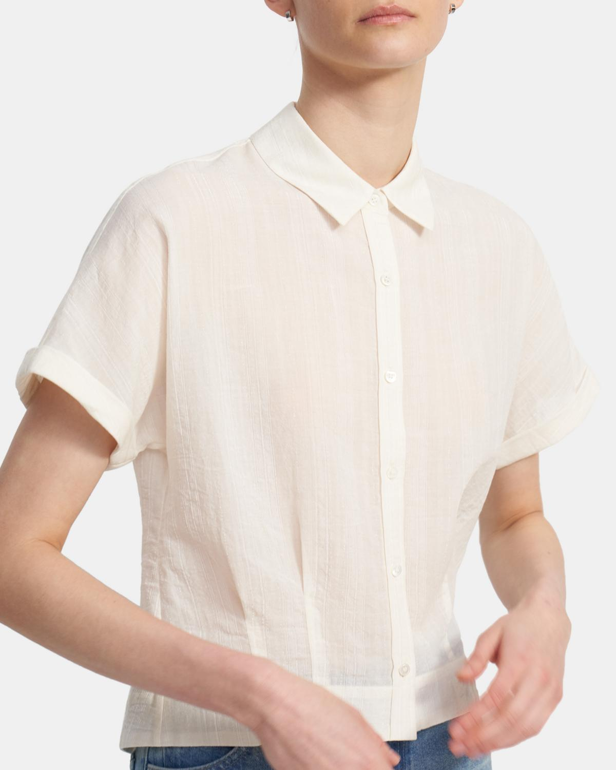 Cropped Button Up Shirt in Cotton-Viscose 0 - click to view larger image