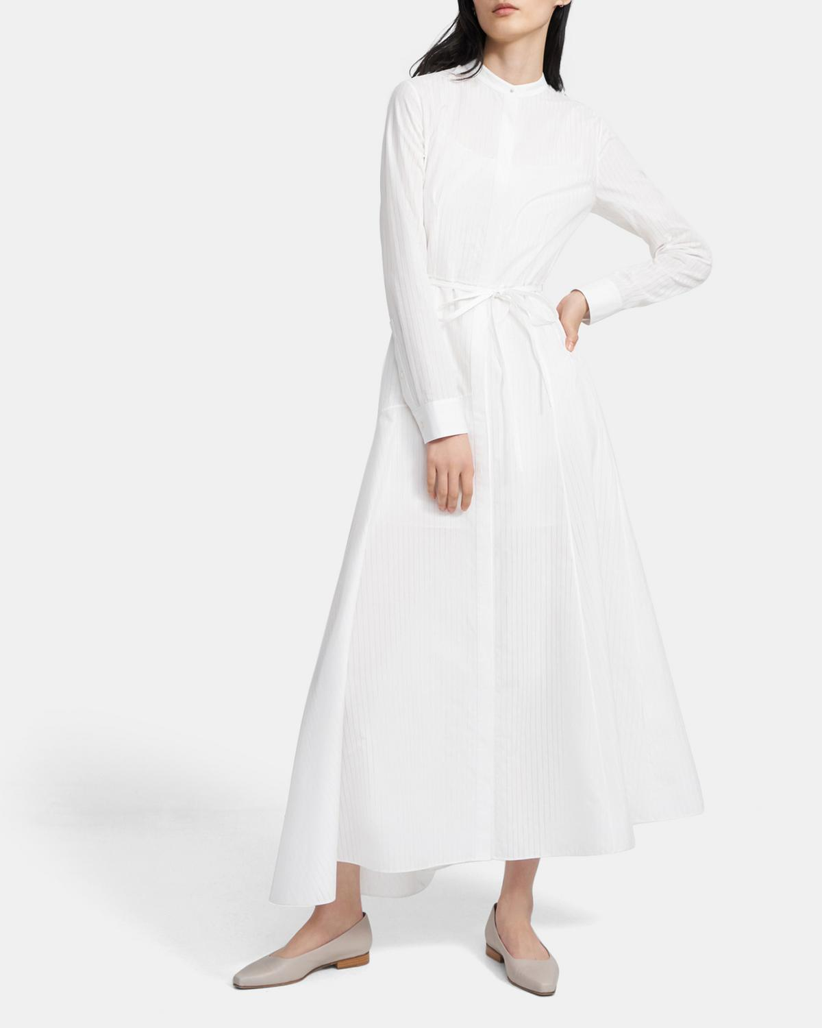 Asymmetric Shirtdress in Sheer Pinstripe Cotton