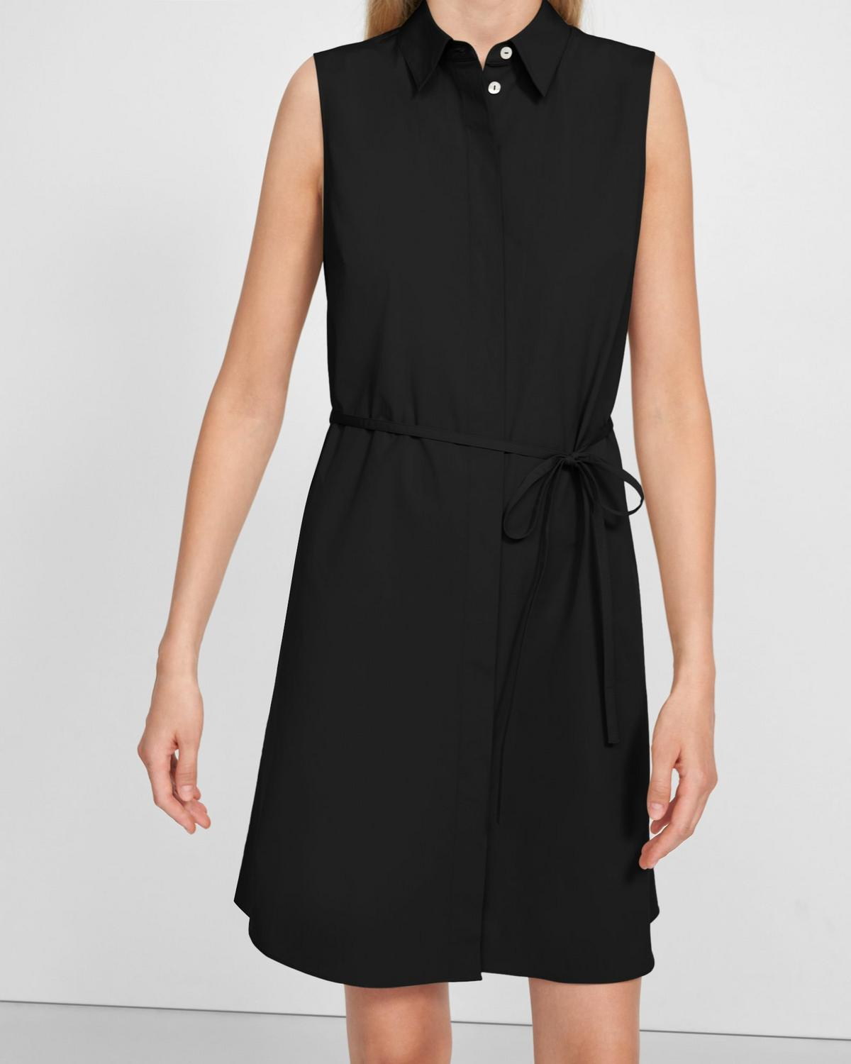 Sleeveless Belted Shirtdress in Stretch Cotton
