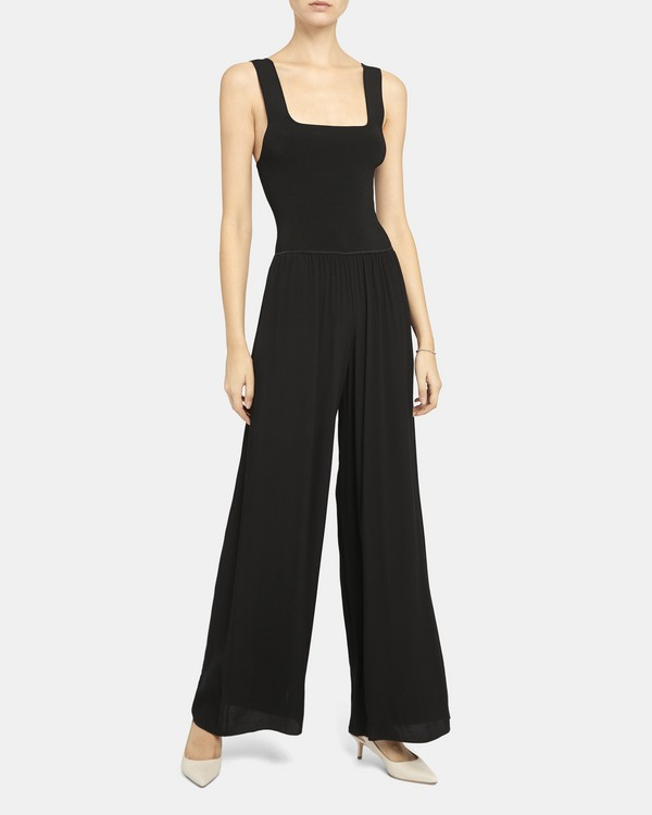 띠어리 골지 스퀘어넥 점프수트 - 블랙 Theory Ribbed Square Neck Jumpsuit in Viscose Crepe K0306204