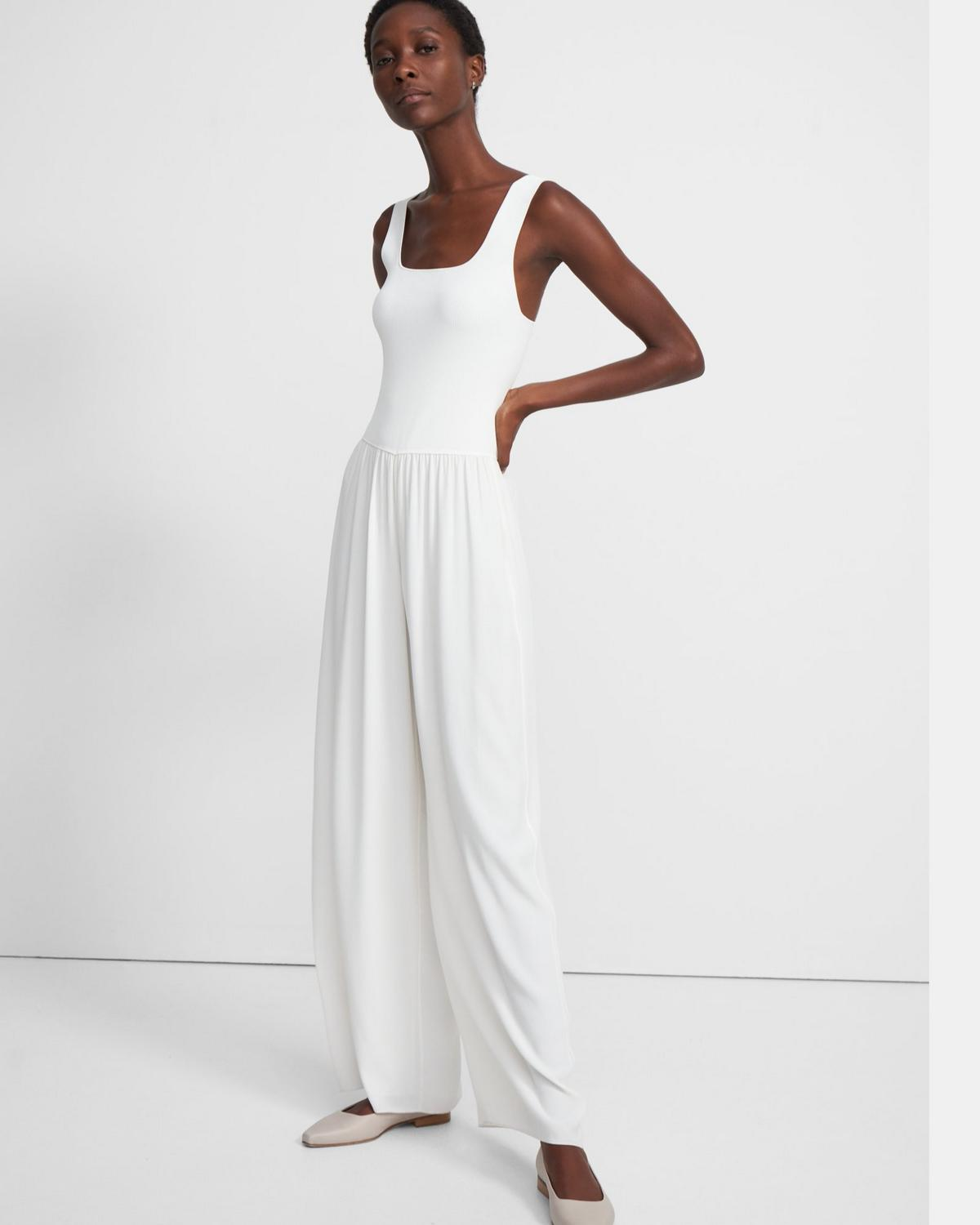 Ribbed Square Neck Jumpsuit in Viscose Crepe