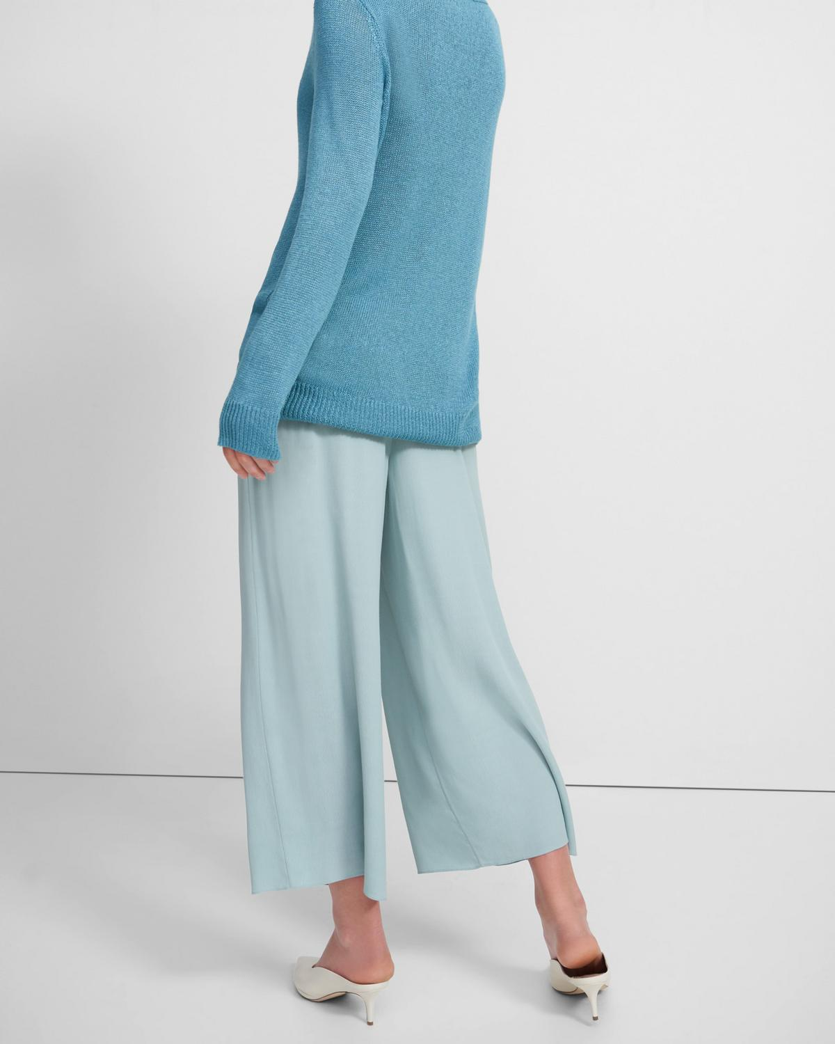 Ribbed Waist Cropped Pant in Viscose Crepe