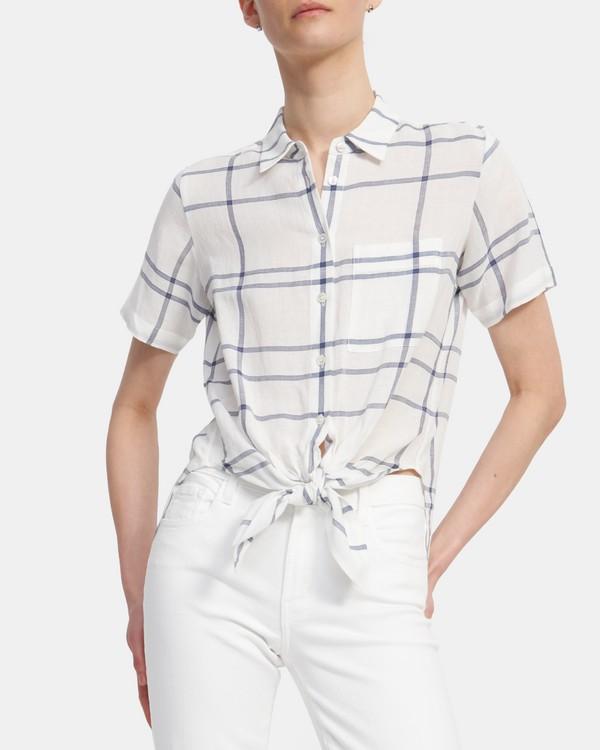 띠어리 '린넨' 타이 프론트 플레이드 셔츠 - 화이트 Theory Tie Front Shirt in Plaid Viscose-Linen