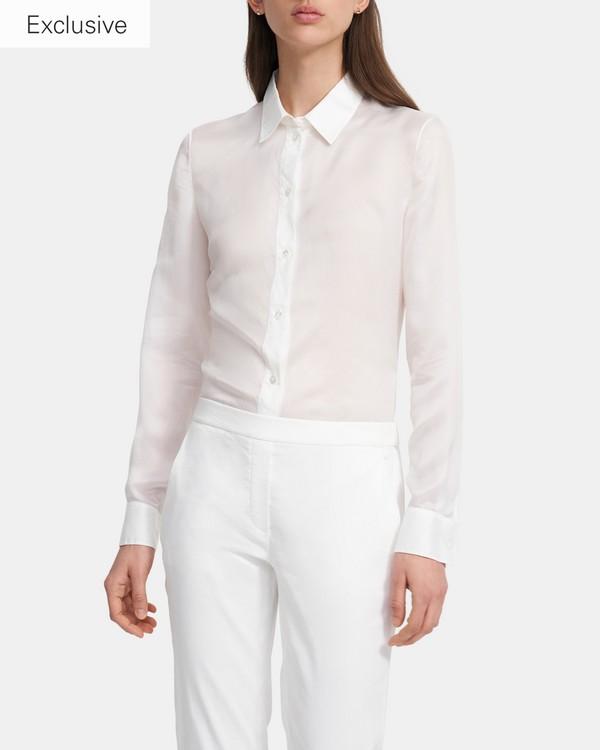 띠어리 슬링키 트윌 셔츠 - 화이트 Theory Fitted Shirt in Slinky Twill, K0306519