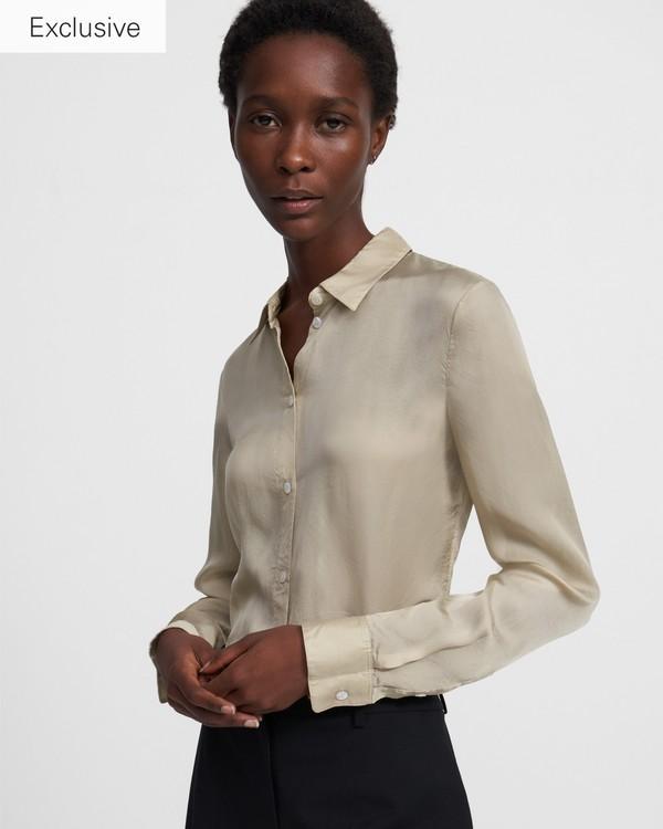 띠어리 슬링키 트윌 셔츠 - 오트 Theory Fitted Shirt in Slinky Twill,K0306519