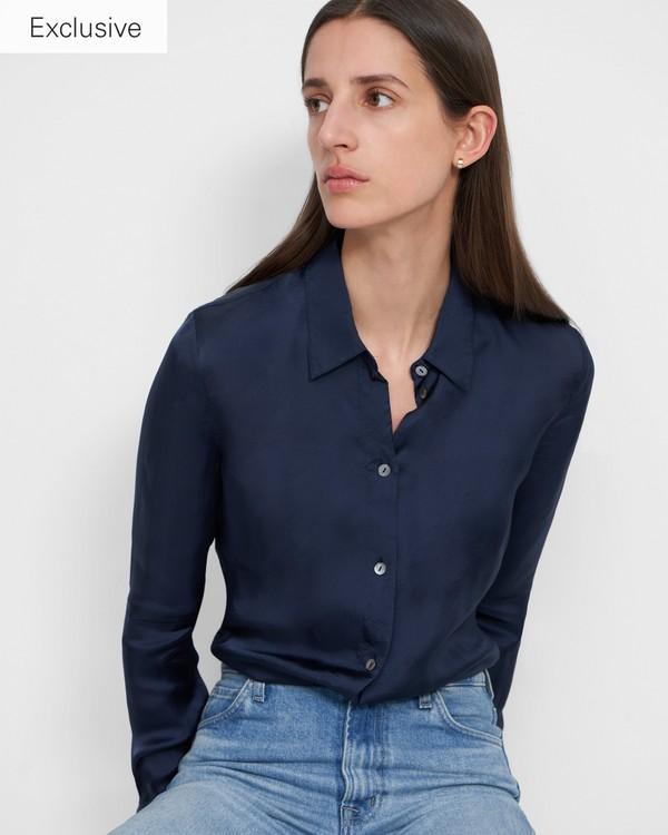 띠어리 슬링키 트윌 셔츠 - 네이비 Theory Fitted Shirt in Slinky Twill, K0306519
