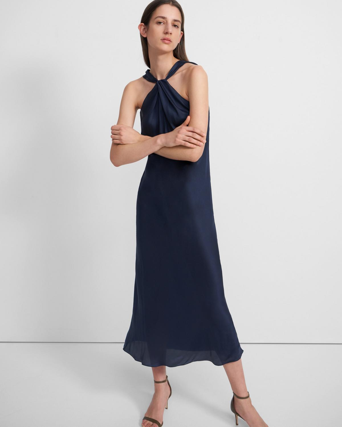 Twist Slip Dress in Slinky Twill