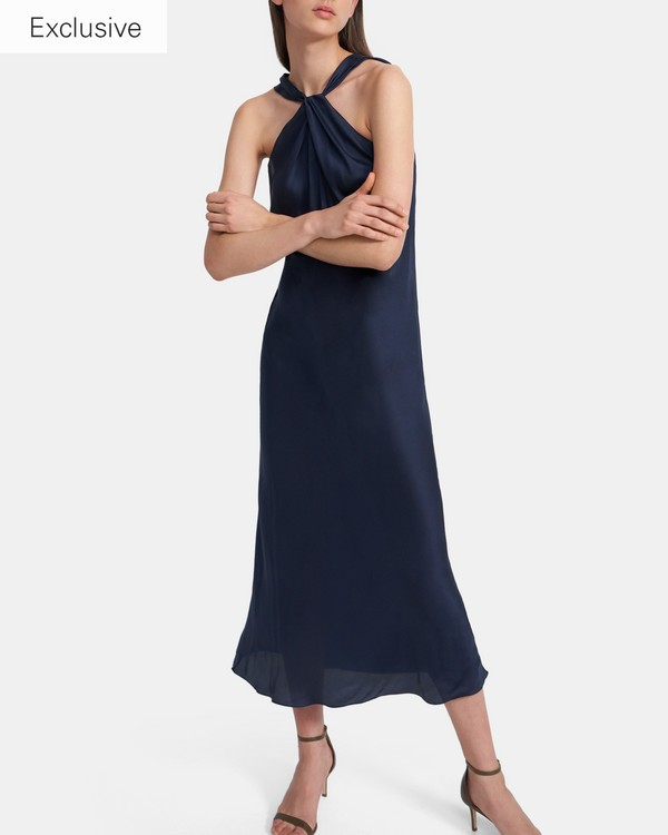 띠어리 트위스트 슬립 원피스 - 네이비 Theory Twist Slip Dress in Slinky Twill
