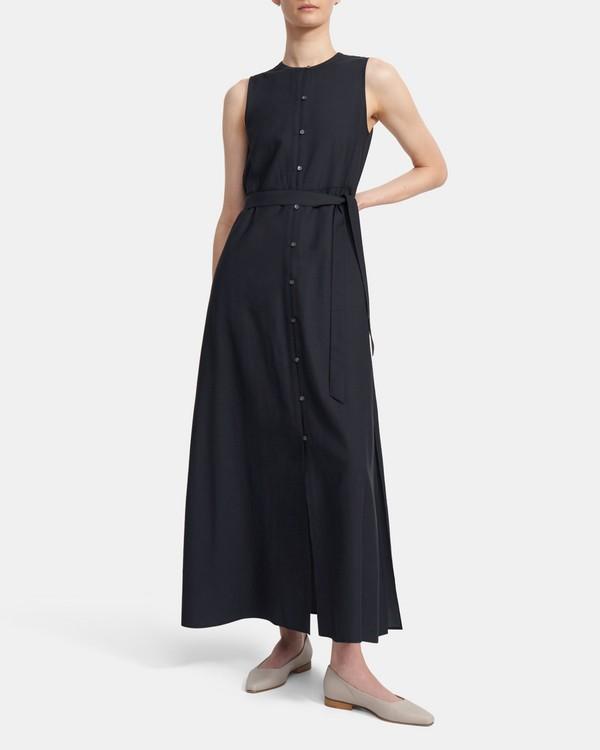 띠어리 맥시 셔츠원피스, 비스코스 트윌 - 딥 네이비 Theory Maxi Shirtdress in Viscose Twill K0306622