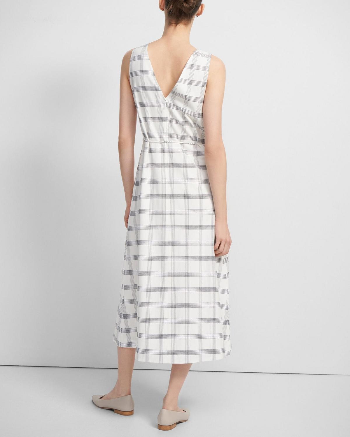 Deep V Midi Dress in Spring Plaid
