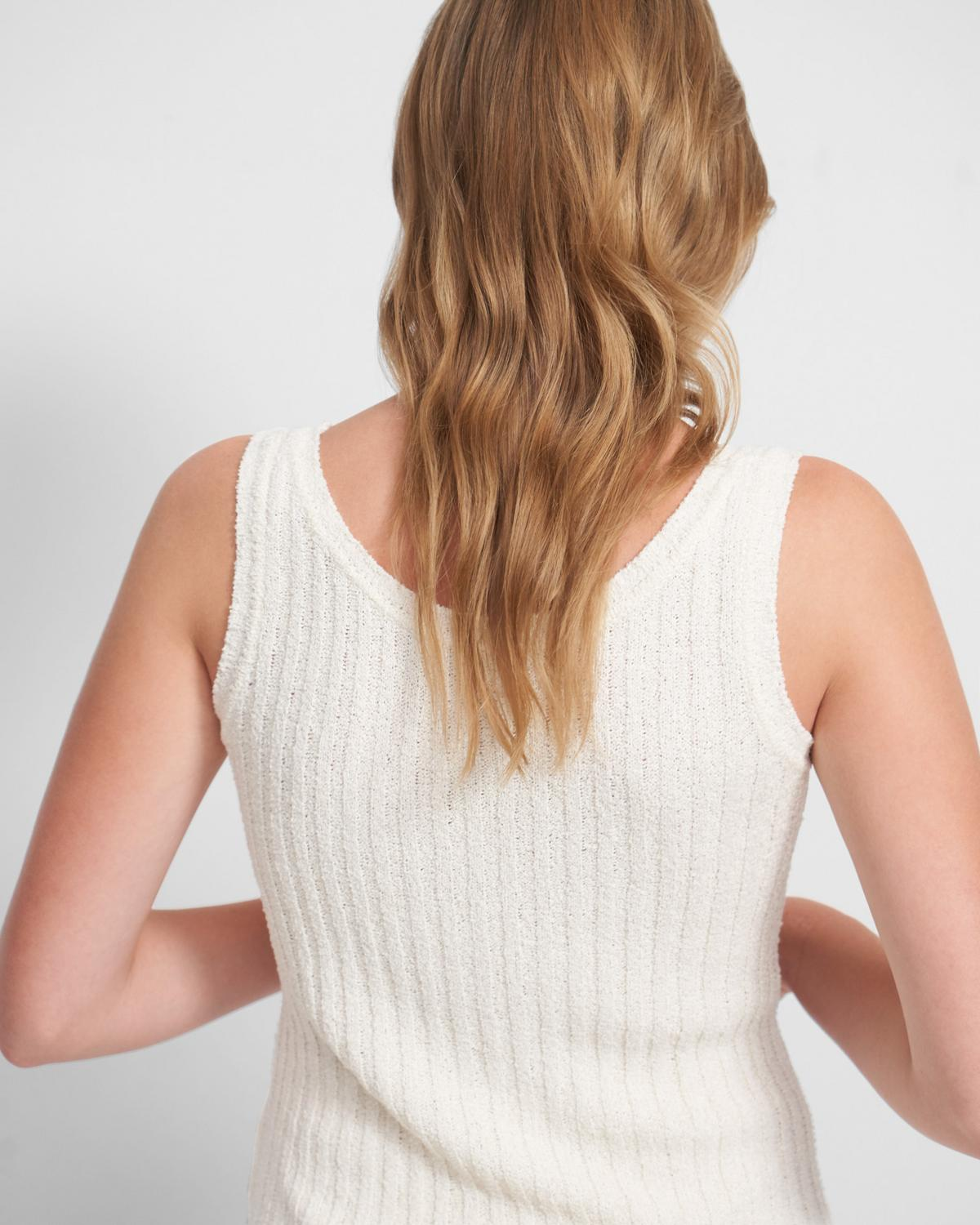 Ribbed Tank in Silk Bouclé