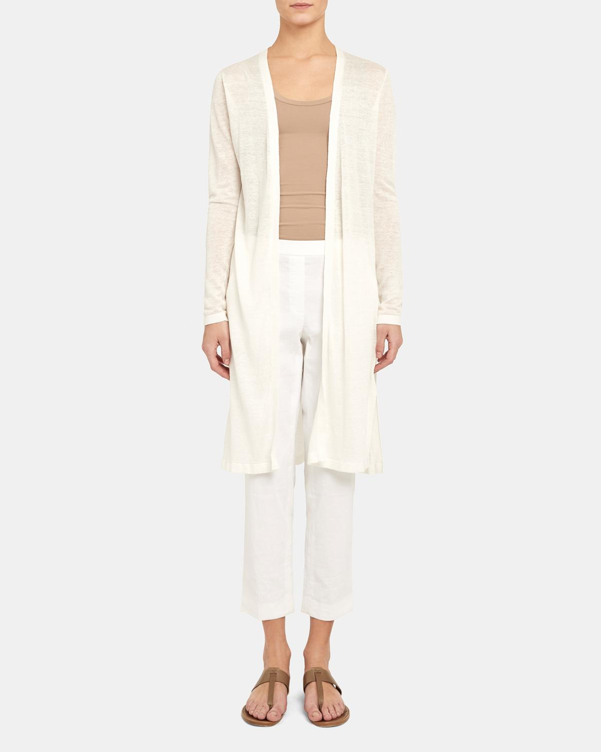 Long Cardigan in Linen-Viscose 0 - click to view larger image