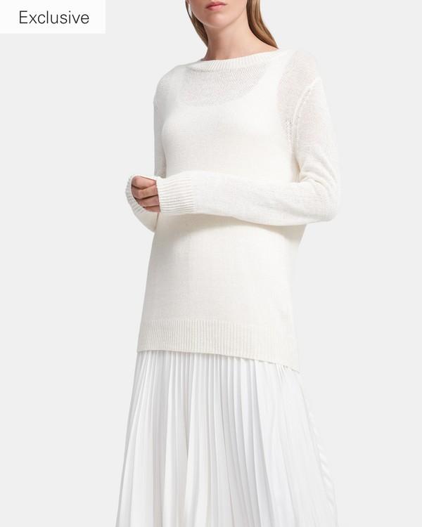 띠어리 린넨 혼방 스웨터 - 화이트 Theory Crewneck Sweater in Linen-Viscose K0313707