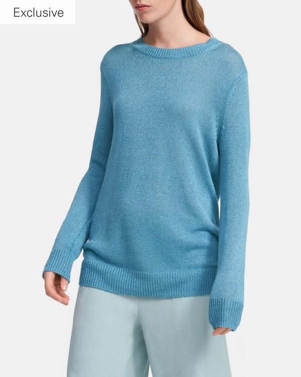 띠어리 린넨 혼방 스웨터 - 틸 블루 Theory Crewneck Sweater in Linen-Viscose, K0313707