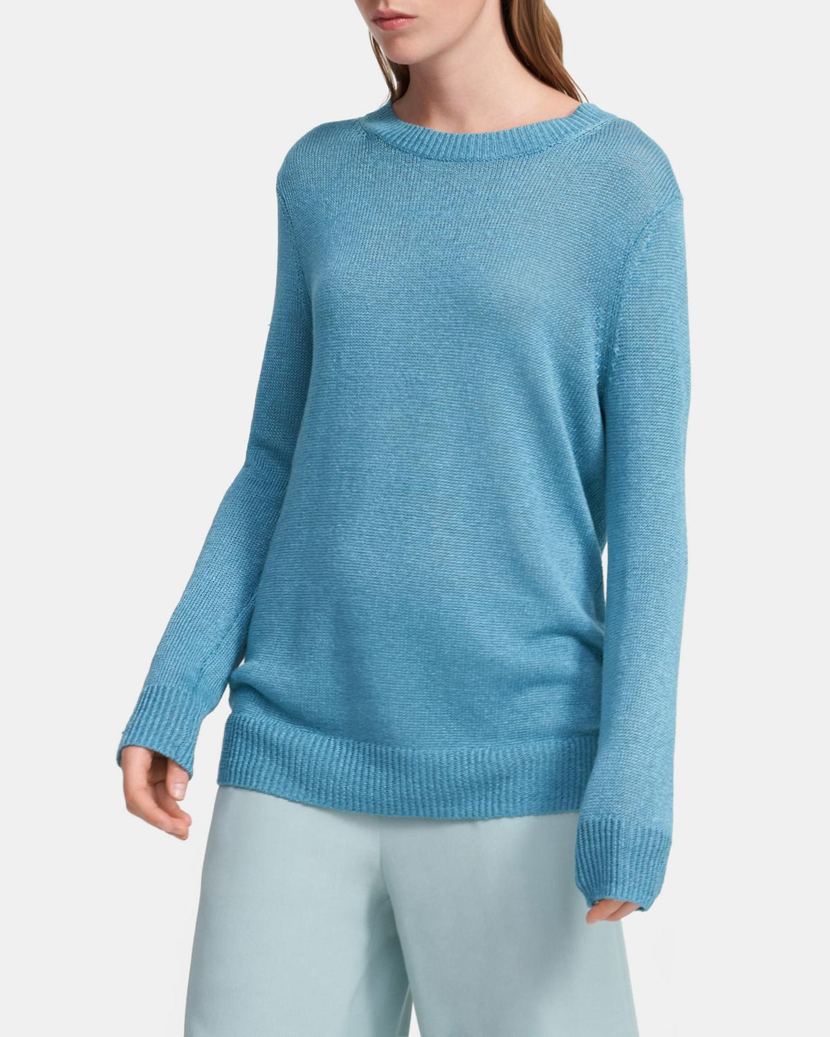 Crewneck Sweater in Linen-Viscose