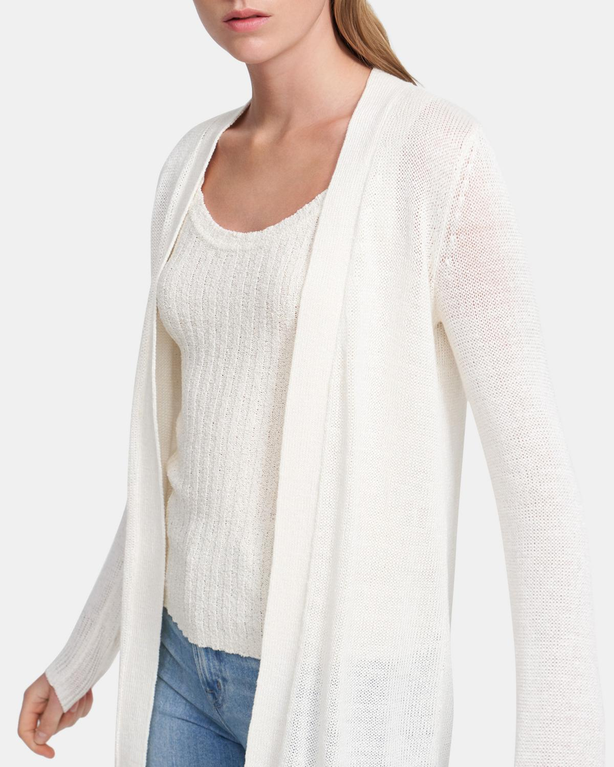 Open Front Cardigan in Linen-Viscose