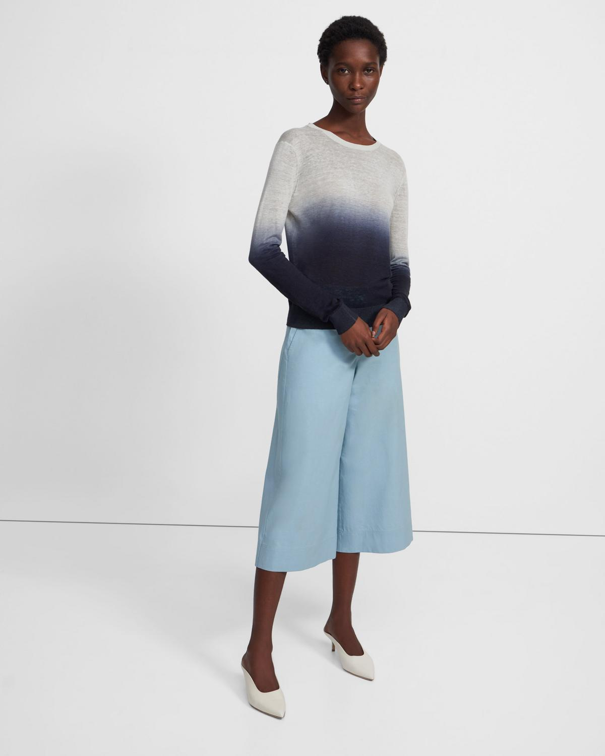 Ombré Crewneck Sweater in Linen-Viscose