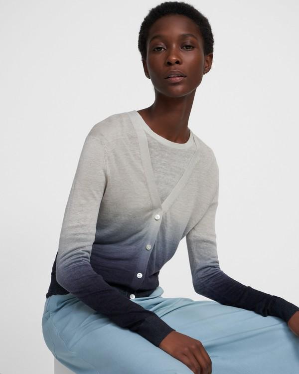 띠어리 가디건 Theory Ombre Cardigan in Linen-Viscose,GREY/NAVY