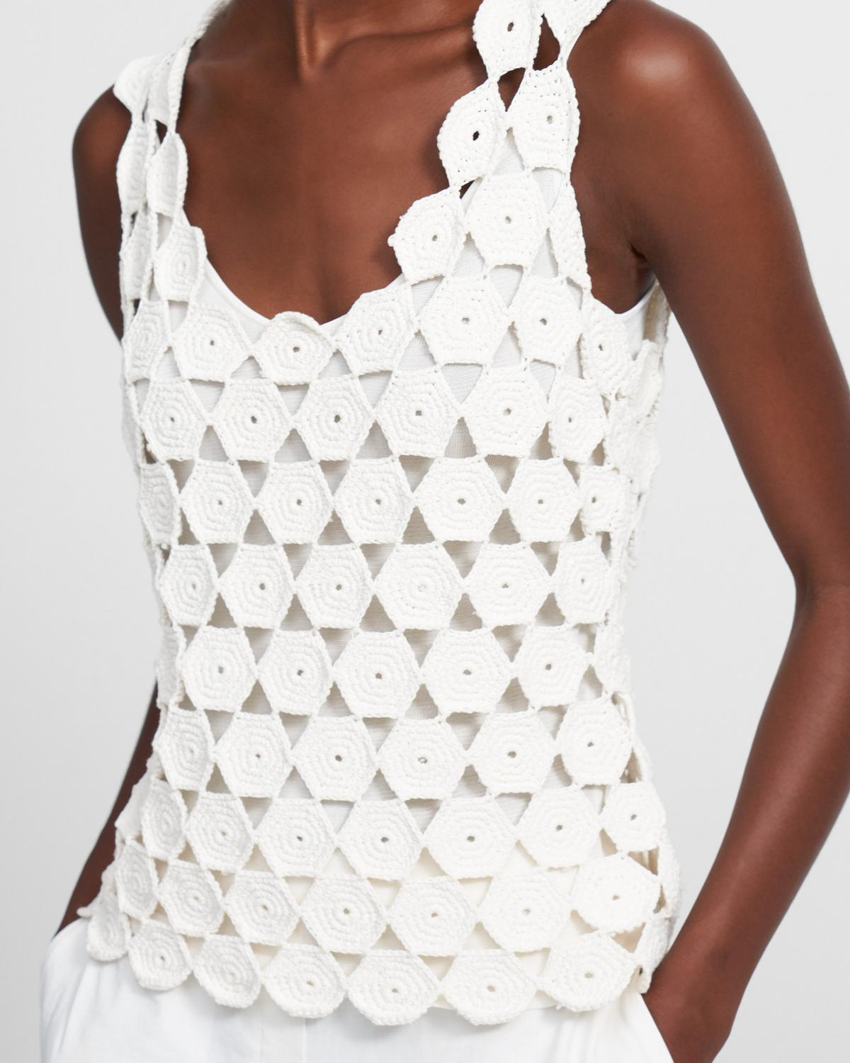 Crochet Tank in Cotton Blend