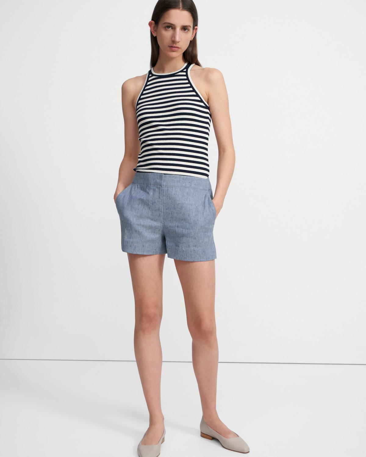 Racerback Tank Top in Striped Ribbed Knit