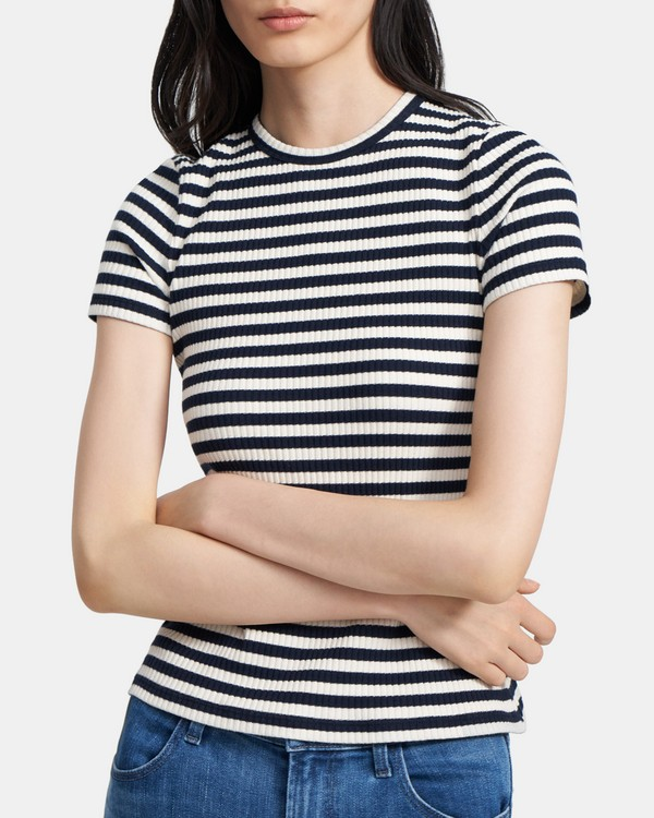 Tiny Tee in Striped Ribbed Knit