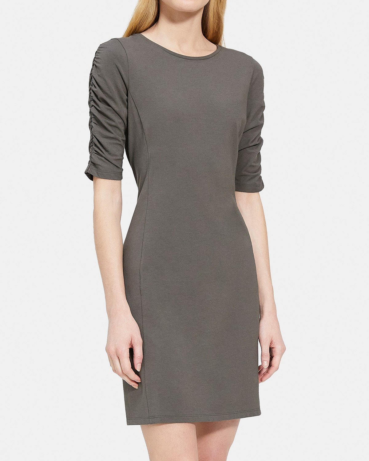 Gathered-Sleeve Dress in Modal-Cotton