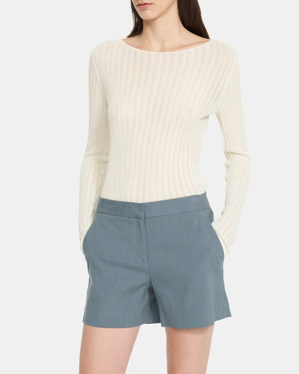 Tailored Short in Stretch Linen