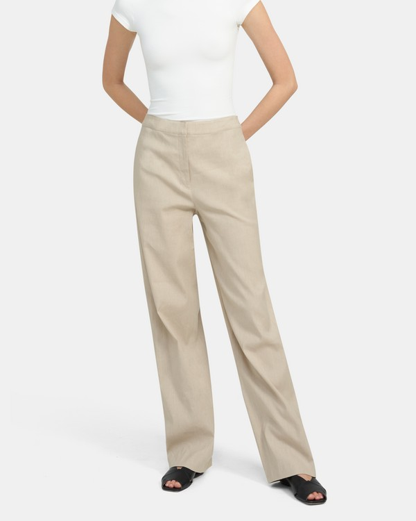 Clean Trouser In Mélange Stretch Linen