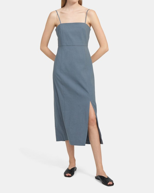Clean Strap Dress In Crunch Linen