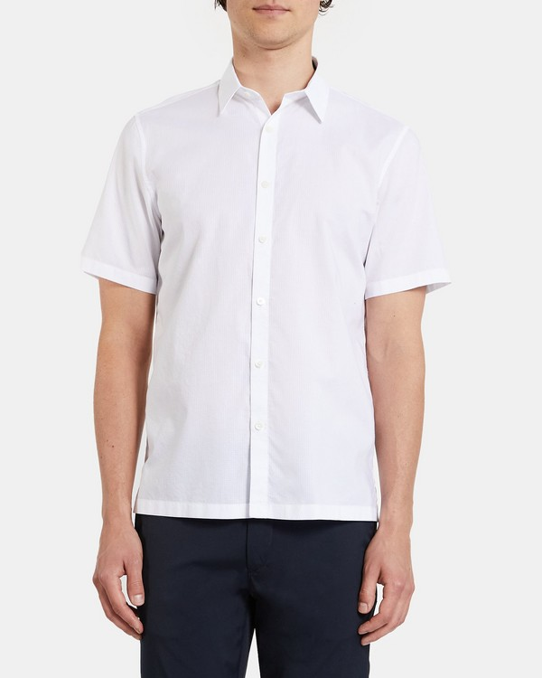 Standard-Fit Short-Sleeve Shirt in Grid Cotton