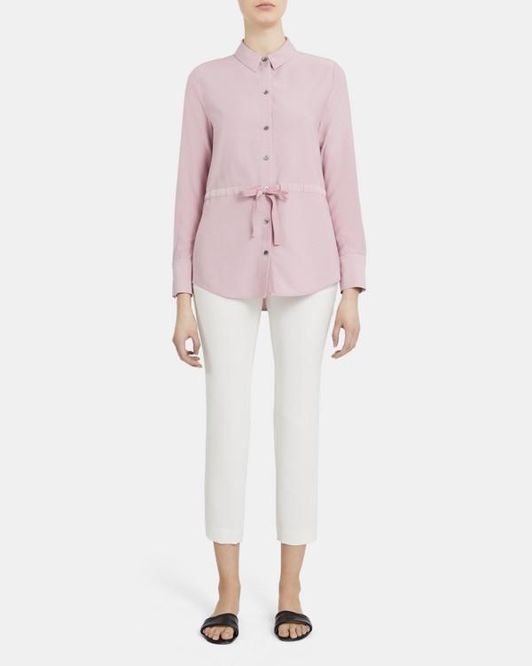 띠어리 셔츠 Theory Tie Waist Button-Up Shirt in Viscose Twill,DUSTY LILAC