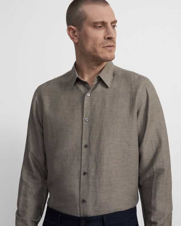 띠어리 맨 셔츠 Theory Irving Shirt in Essential Linen Twill,BEIGE STONE