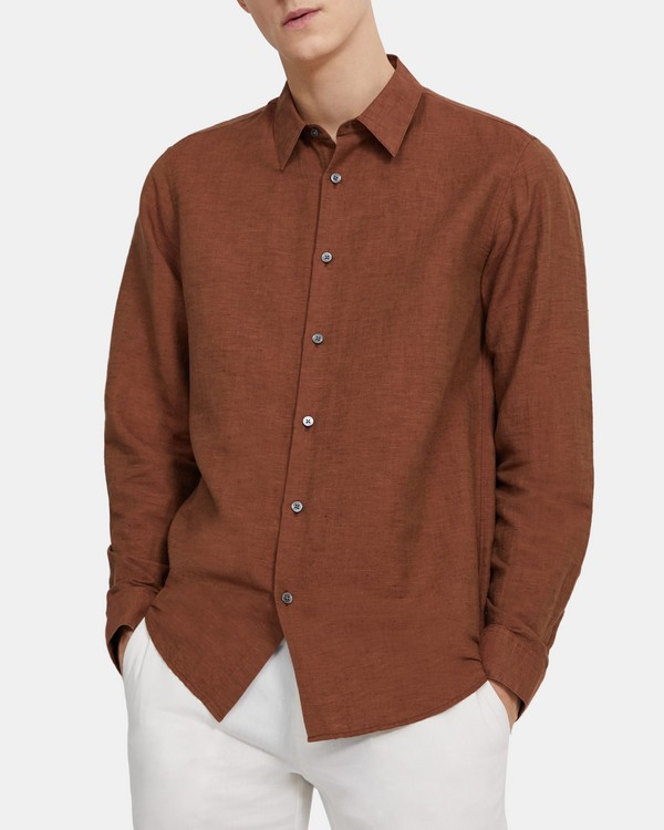 띠어리 맨 어빙 셔츠, 린넨 트윌 Theory Irving Shirt in Essential Linen Twill