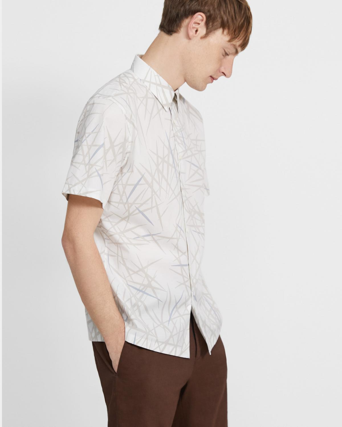 Irving Short-Sleeve Shirt in Tropic Print Stretch Cotton